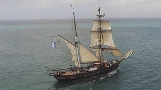Le Tres Hombres, le magnifique voilier de Raphaël et François Mangin, importe du rhum bio de Martinique à la seule force du vent.  (CAPTURE ECRAN FRANCE 3)