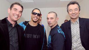 Sébastien Farran (à g.), Joey Starr et Kool Shen, le 13 mars 2008, à Paris. (MIGUEL MEDINA / AFP)