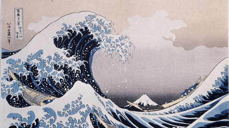 """Photo de """"La grande vague pres de la cote de Kanagawa"""", une estampede Katsushika Hokusai (1760-1849), au musée Pouchkine de Moscou. (LEEMAGE)"""