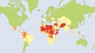 Carte des zones à éviter pour les voyageurs français, établie en mai 2019 par le ministère des Affaires étrangères. (MINISTERE DES AFFAIRES ETRANGERES)