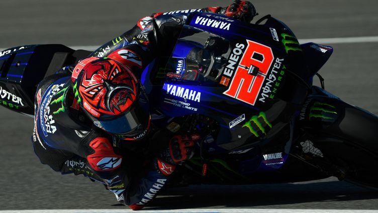 Le Français Fabio Quartararo durant la troisième séance d'essais libres du Grand Prix d'Espagne de MotoGP, samedi 1er mai. (PIERRE-PHILIPPE MARCOU / AFP)