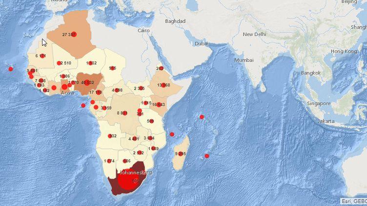 Le nombre de cas de Covid-19 dans la région Afrique de l'OMS (47 pays) au27 juillet 2020 (matinée). (CAPTURE D'ECRAN/OMS)