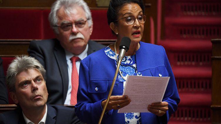La communiste Huguette Bello, le 3 avril 2019 à l'Assemblée nationale. (CHRISTOPHE ARCHAMBAULT / AFP)