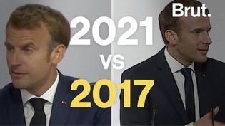 VIDEO. Emmanuel Macron devant les forces de l'ordre : 2017 vs 2021 (BRUT)