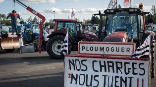 Le 3 septembre 2015, des agriculteurs bretons s'étaient rendus en tracteurs à Paris pour manifester. (GAEL CLOAREC / CITIZENSIDE / AFP)