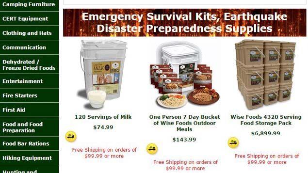 (Plusieurs sites internet proposent des kits de survie avec tous les produits de première nécessité (capture d'écran))