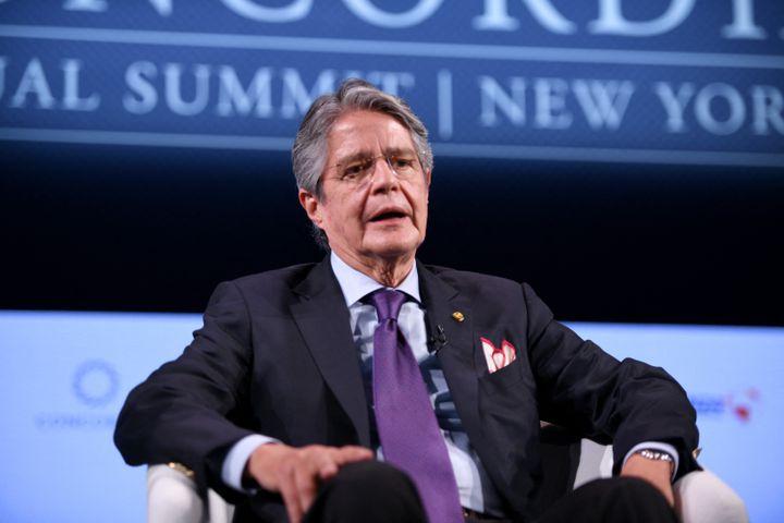 Guillermo Lasso, président de l'Equateur, lors d'un sommet économique à New York (Etats-Unis), le 20 septembre 2021. (RICCARDO SAVI / GETTY IMAGES NORTH AMERICA VIA AFP)