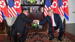 Kim Jong-un et Donald Trump se serrent la main, à Singapour, à l'occasion d'un sommet historique, le 12 juin 2018. (SAUL LOEB / AFP)