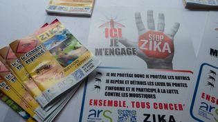 Des affiches et des livrets de la campagne de lutte contre le virus Zika, pris en photo à Petit-Bourg (Guadeloupe), le 4 mars 2016. (HELENE VALENZUELA / AFP)