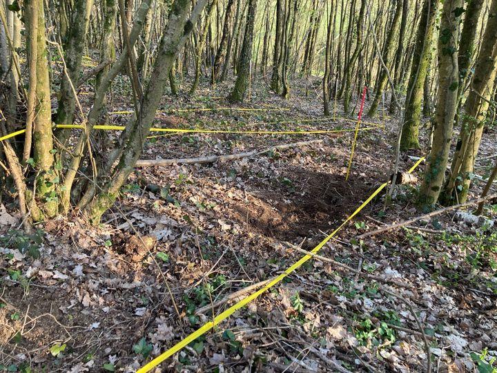 Une partie de la zone de fouilles à Issancourt-et-Rumel avant le déboisement (9 avril 2021). (MARGAUX STIVE / RADIO FRANCE)