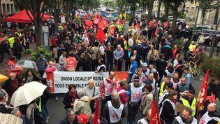 Le début de la manifestation contre la réforme du Code du travail à Reims (Marne), le 12 septembre 2017. (FRANCE 3 CHAMPAGNE-ARDENNES)