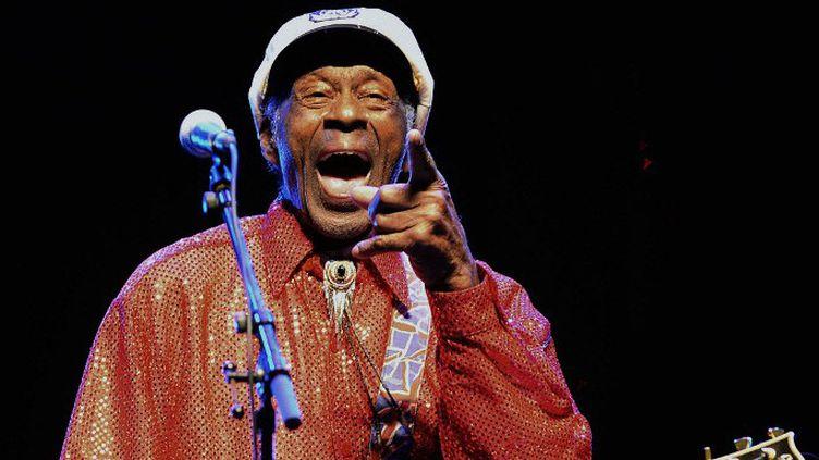 Chuck Berry sur scène à Montevideo en2013  (PABLO PORCIUNCULA / AFP)