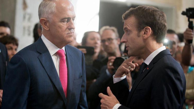L'ancien premier ministre australien Malcolm Turnbull, lors d'une rencontre à Sydney avec le président français Emmanuel Macron, le 3 mai 2018. (NATHAN LAINE / HANS LUCAS)