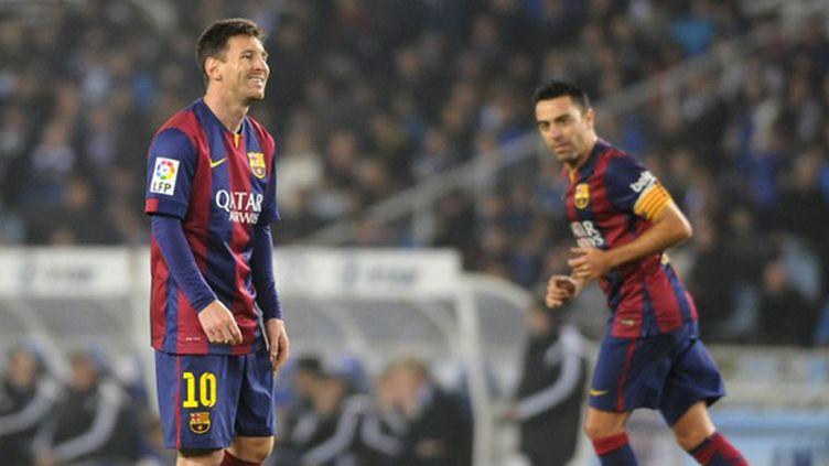 Lionel Messi (FC Barcelone) et ses coéquipiers ont chuté sur la pelouse de San Sebastian (ANDER GILLENEA / AFP)