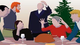 Cadeau de franceinfo sous le sapin, un guide de survie pour le repas de Noël. (BAPTISTE BOYER / FRANCEINFO)