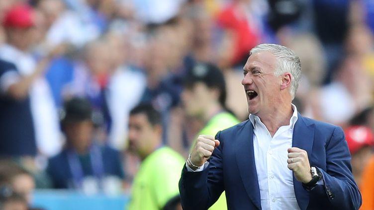 Didier Deschamps lors duhuitièmede finale contre l'Irlande, le 26 juin 2016, à Lyon (Rhône). (VALERY HACHE / AFP)
