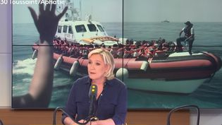 La présidente du Rassemblement national, Marine Le Pen, invitée de franceinfo, lundi 25 juin 2018. (RADIO FRANCE / FRANCE INFO)