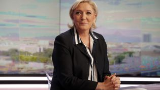 Marine Le Pen, le 2 mai 2017 sur le plateau du JT de 20 heures de TF1. (CHARLES PLATIAU / AFP)