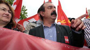 Le secrétaire général de la CGT, Philippe Martinez, lors de la manifestation du 12 mai 2016 à Paris. (JOEL SAGET / AFP)