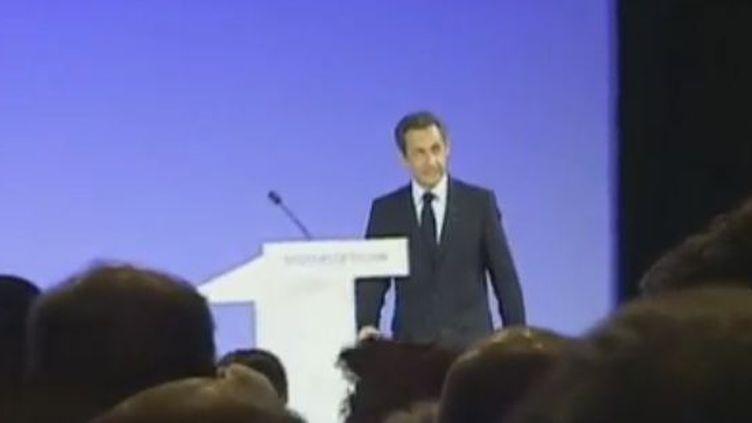 Le président de la République Nicolas Sarkozy à Toulon (Var), le 25 septembre 2008. (VIDÉO : ROMAIN MESSY ET MARIE CAZAUX - FRANCE 2)