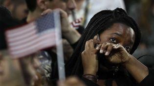 Les supporters de Hillary Clinton pendant la soirée électorale. (FRANK FRANKLIN II / AP / SIPA)