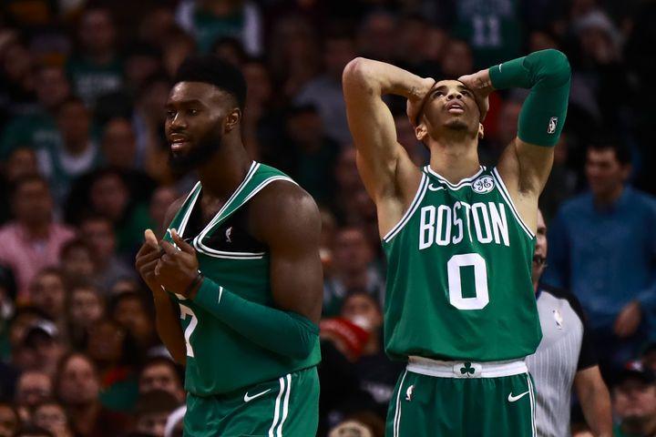 Jaylen Brown et Jayson Tatum, pépites des Celtics (OMAR RAWLINGS / GETTY IMAGES NORTH AMERICA)