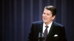 Ronald Reagan, président des USA, à la Convention des Républicains, à Dallas (Texas), le 23 août 1984. (UPI)