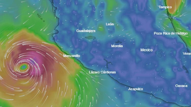 L'ouragan Willa se déplace à une vitesse de 9 km/h. (WINDY.COM)
