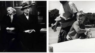 """Louis Stettner, à gauche """"Le roi et la reine de Coney Island"""", New York, série """"Subway"""", 1946 - A droite, """"Athens"""", Etat de New York, 2003 - Collection Centre Pompidou, Musée national d'art moderne, Paris, don de l'artiste en 2015  (A droite et à gauche : © Centre Pompidou/Dist. RMN-GP © Louis Stettner)"""