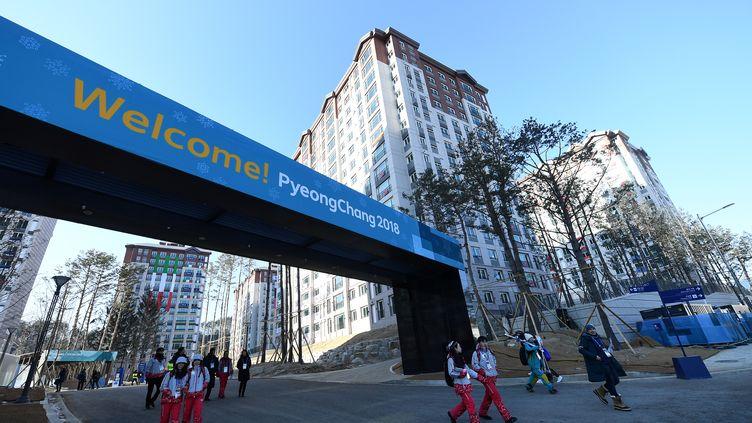 L'entrée du Village olympique de Pyeongchang (FRANCK FIFE / AFP)