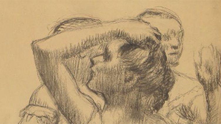 """""""Trois danseuses en buste"""" d'Edgar Degas (détail), un dessin au fusain sur papier calque réalisé autour de 1898.  (Maison de vente Osenat 2016)"""
