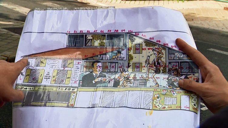 Le dessin préparatoire de la fresque Goscinny en cours de réalisation à Angoulême (France 3 Nouvelle Aquitaine)