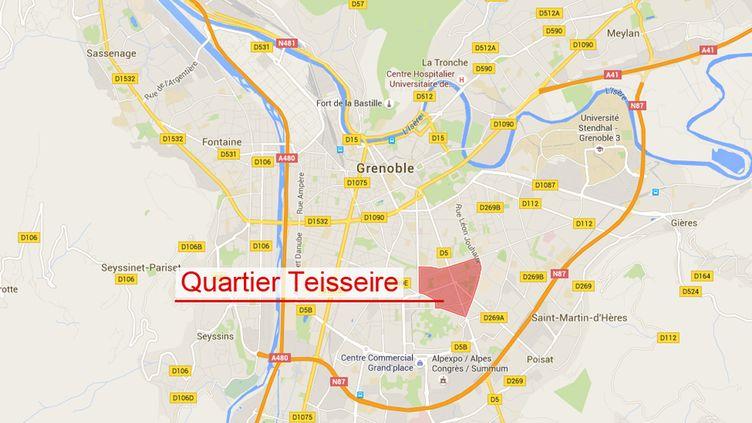 (Quartier Teisseire de Grenoble © Google map)