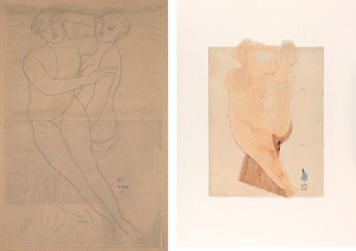 """Auguste Rodin, """"Deux femmes enlacées"""", à gauche, 1912, crayon graphite sur papier calque, à droite, crayon graphite et aquarelle sur deux papiers découpés et collés sur papier vélin  (A droite et à gauche © musée Rodin, ph. Jean de Calan)"""