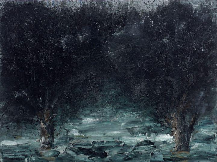 """Yan Pei-Ming, """"International Landscape by Night"""", 2011, Musée national d'art moderne, Centre Georges Pompidou, Paris (Photographie : André Morin © Yan Pei-Ming, ADAGP, Paris, 2021)"""