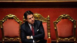 Le Premier ministre italien Giuseppe Conte, après un discours au Sénat, le 20 août 2019 , à Rome. (ANDREAS SOLARO / AFP)