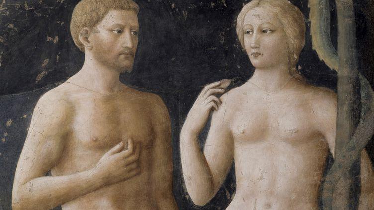 """""""La Tentation d'Adam et Eve"""", deMasolino da Panicale, fresque du XVe siècle. (MONDADORI PORTFOLIO / HULTON FINE ART COLLECTION / GETTY IMAGES)"""