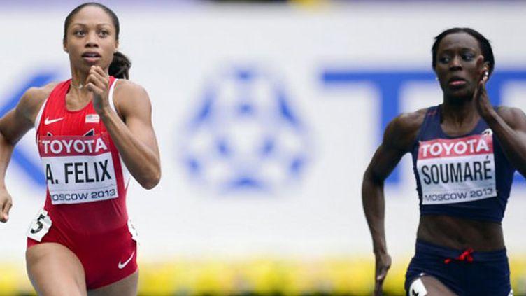 La sprinteuse américaine Allyson Felix et la Française Myriam Soumaré