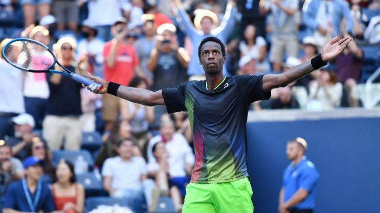 Gaël Monfils lors du troisième tour de l'US Open, le 4 septembre 2021, à New York. (ANGELA WEISS / AFP)