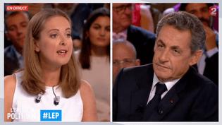 """Charline Vanhoenacker face à Nicolas Sarkozy, le15 septembre 2016 sur le plateau de """"L'Emission politique"""" sur France 2. (FRANCE 2)"""