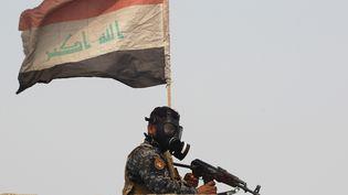 Un membre de l'armée irakienne lors d'une opération de reconquête d'un village au sud de Mossoul, le 24 octobre 2016 (AHMAD AL-RUBAYE / AFP)