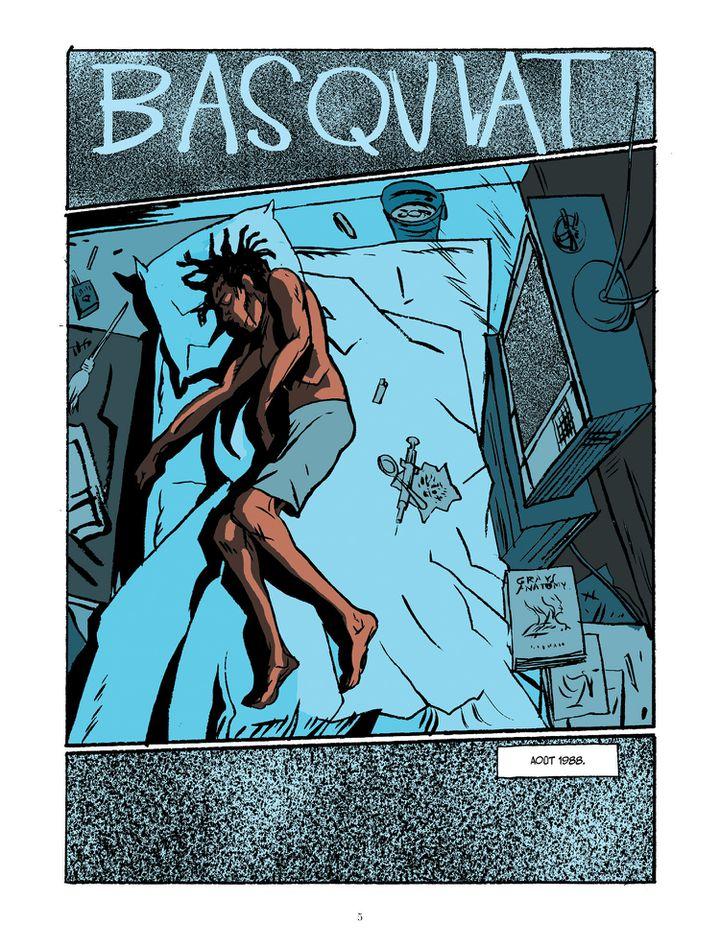 """La planche d'ouverture de la biographie dessinée """"Basquiat"""" de Julian Voloj et Soren Mosdal, qui commence par la fin tragique du peintre new-yorkais à l'âge de 27 ans. (JULIAN VOLOJ - SOREN MOSDAL (COURTESY EDITIONS SOLEIL))"""