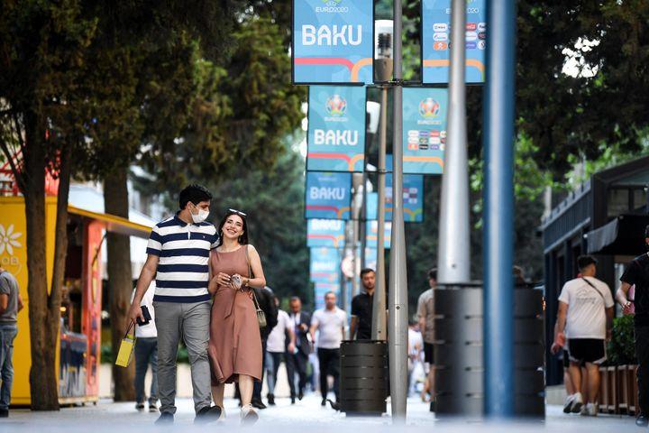 Les rues de Bakou au moment d'aborder l'Euro, le 10 juin (OZAN KOSE / AFP)