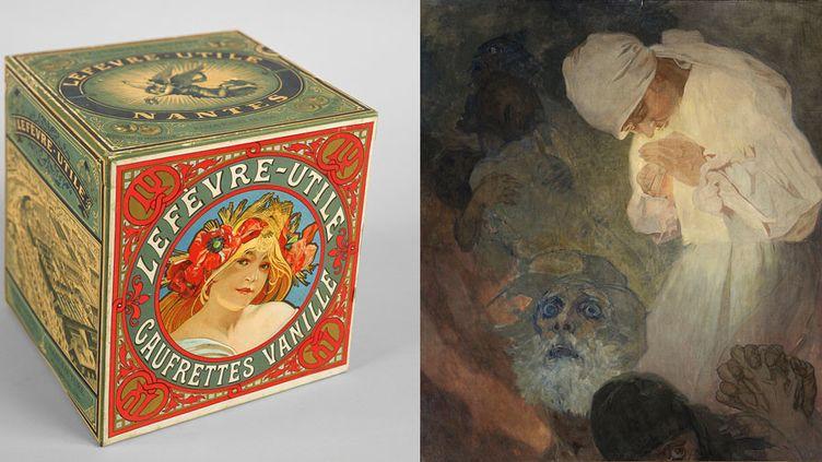 """Alphonse Mucha : à gauche, """"Boîte pour les gaufrettes vanille Lefèvre-Utile, c.1900, Fondation Mucha, Prague - A droite, """"La Lumière de l'espérance"""", 1933, Fondation Mucha, Prague  (A gauche et à droite © Mucha Trust 2018)"""
