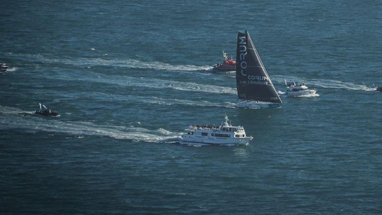 Le bateau du skipper Nicolas Troussel, lors du Vendée Globe 2020, le 9 novembre 2020. (PIERRE BOURAS / DPPI MEDIA / AFP)