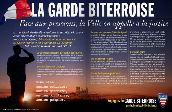 La mairie de Béziers a lancé un appel à candidatures dans le journal municipal, mardi 15 décembre 2015. (JOURNAL DE BEZIERS)