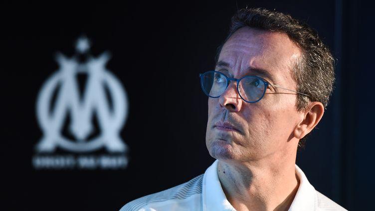 Le président de l'OM Jacques-Henri Eyraud, lors d'une conférence de presse le 4 septembre 2019 au centre d'entraînement de l'OM, à Marseille (Bouches-du-Rhône). (BORIS HORVAT / AFP)