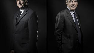 Alain Juppé et François Fillon, candidats à la primaire de la droite, photographiés respectivement le 26 octobre et le 25 novembre 2016 à Paris. (JOEL SAGET / AFP)