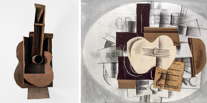 "A gauche, Pablo Picasso, ""Guitare"", Paris, janvier-février 1914, The Museum of Modern Art, New York - A droite, Georges Braque, ""La Guitare statue d'épouvante"", novembre 1913, Papiers collés, fusain et gouache sur papier, Musée nationale Picasso, Paris  (A gauche © 2018. Digital image, The Museum of Modern Art, New York/Scala, Florence © Succession Picasso 2018 - A droite © RMN-Grand Palais (Musée national Picasso-Paris) / Droits réservés © ADAGP, Paris 2018)"