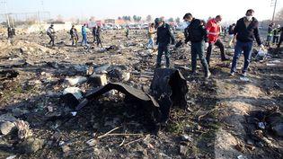 Des restes de l'épave de l'avion, le 8 janvier. L'accident a coûtéla vie à 176 personnes. (ABEDIN TAHERKENAREH / EPA)